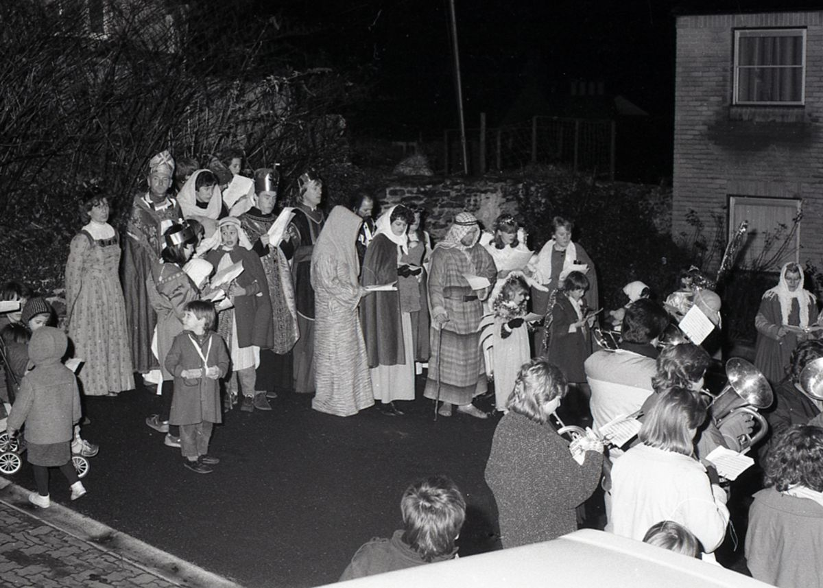 Community parade around Lostwithiel during Christmas 1986