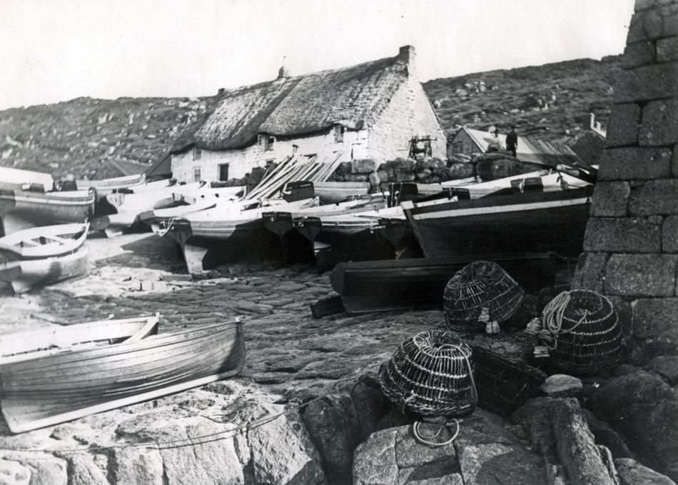 Sennen in the 1900s with fishing boats