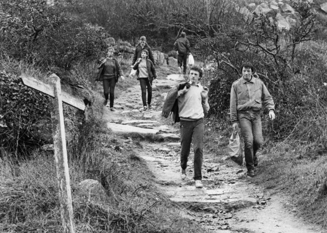 Walkers at Lamorna Cove in the 1980s