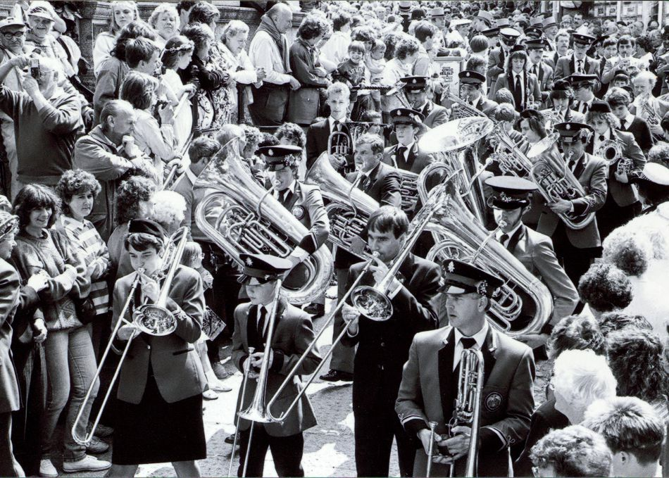 Helston Town Band at Helston Flora Day in 1989