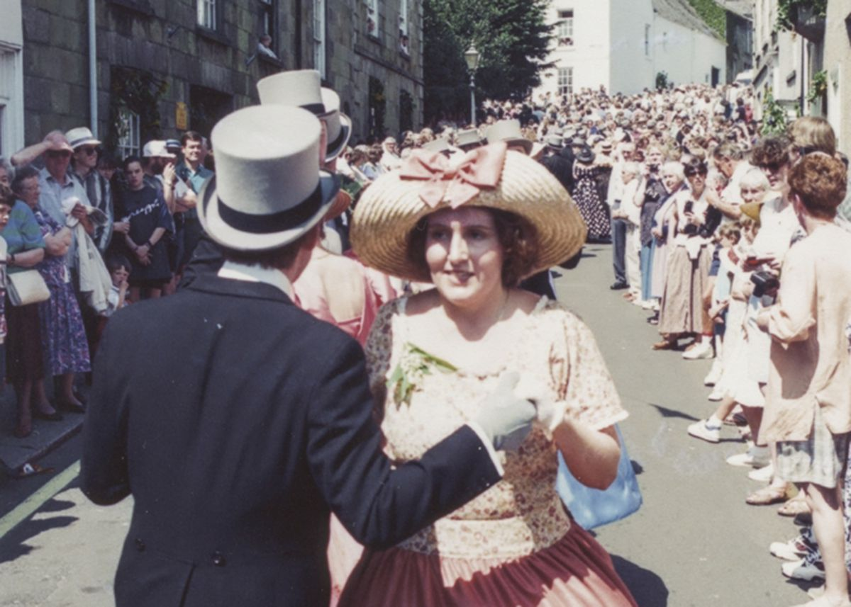 Helston Flora Day midday dance in Church Street in 1995