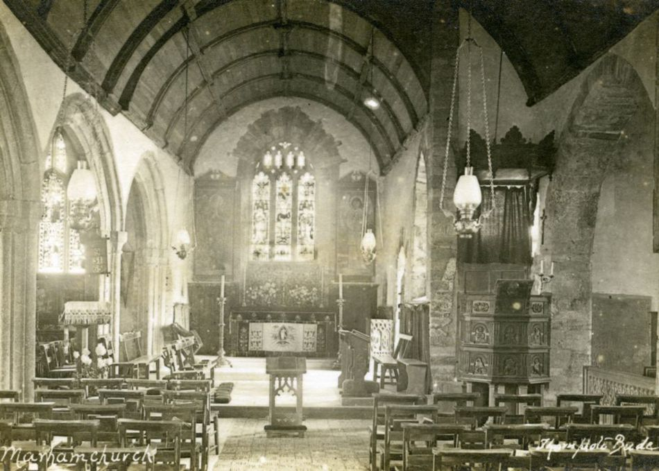 The Church of St Marwenna in Marhamchurch in the 1920s