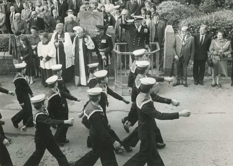 Trafalgar Day Parade in Madron in the 1970s