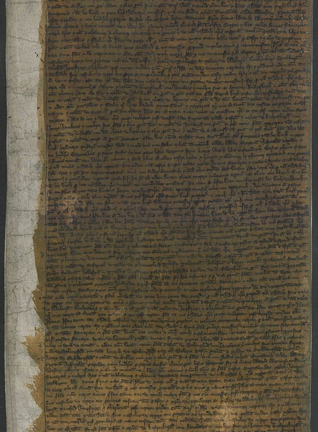 A page from the Great Charter declaring the creation of the Duchy of Cornwall.