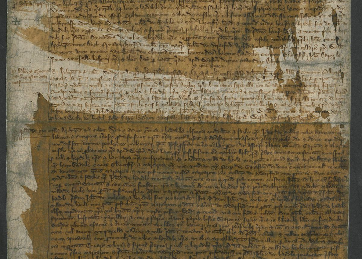 Page two of the creation of the Duchy of Cornwall in the Great Charter.