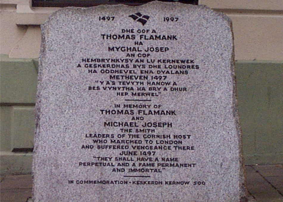 Memorial commemorating the An Gof and Thomas Flamank