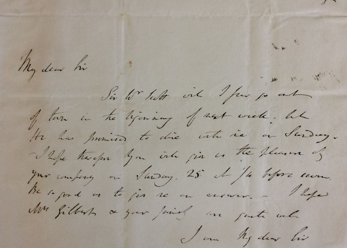 Letter from Sir Humphry to Davies Gilbert dated 20 February 1821