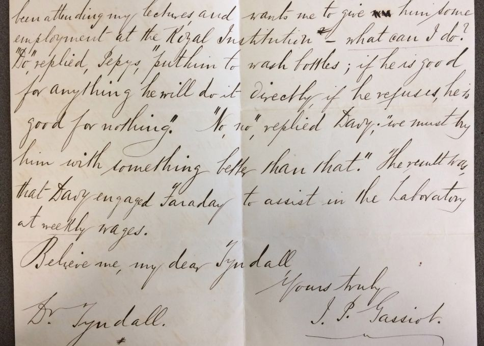 Letter about Humphry Davy and Faraday