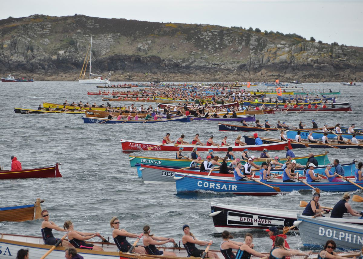 Pilot boats racing in Cornwall