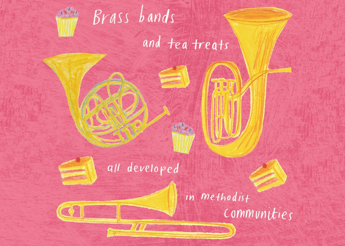 Illustration of brass bands and tea treats developed by Methodist communities