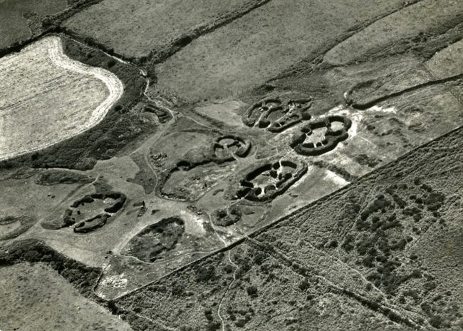 Aerial view of Chysauster Ancient Village around 1970