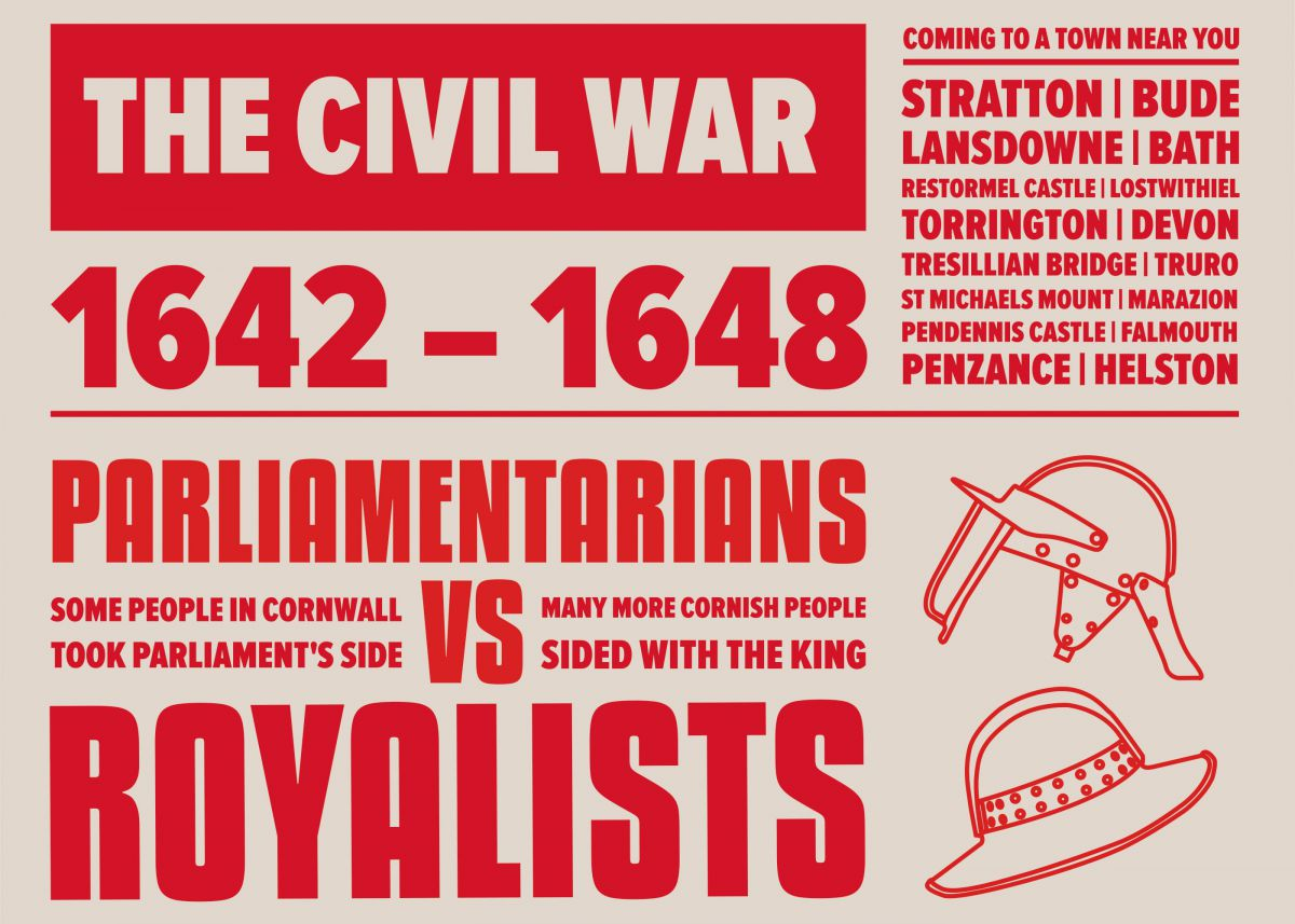 Typographic Illustration about the Civil War of 1642-1651