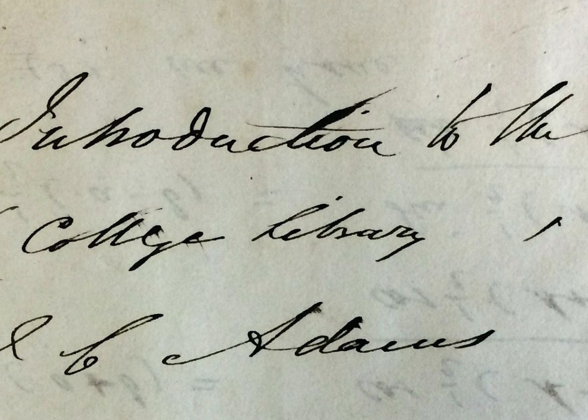 The signature of John Couch Adams on a document at Cornwall Record Office