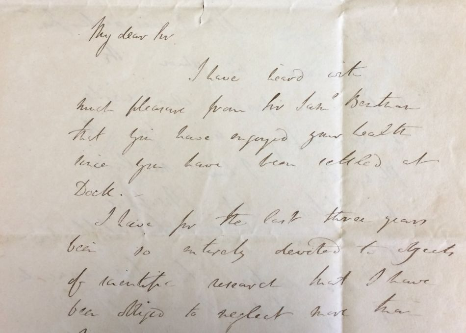 A letter from Sir Humphry Davy to Thomas Coulson