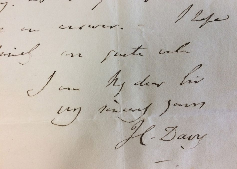 Humphry Davy signature on a letter