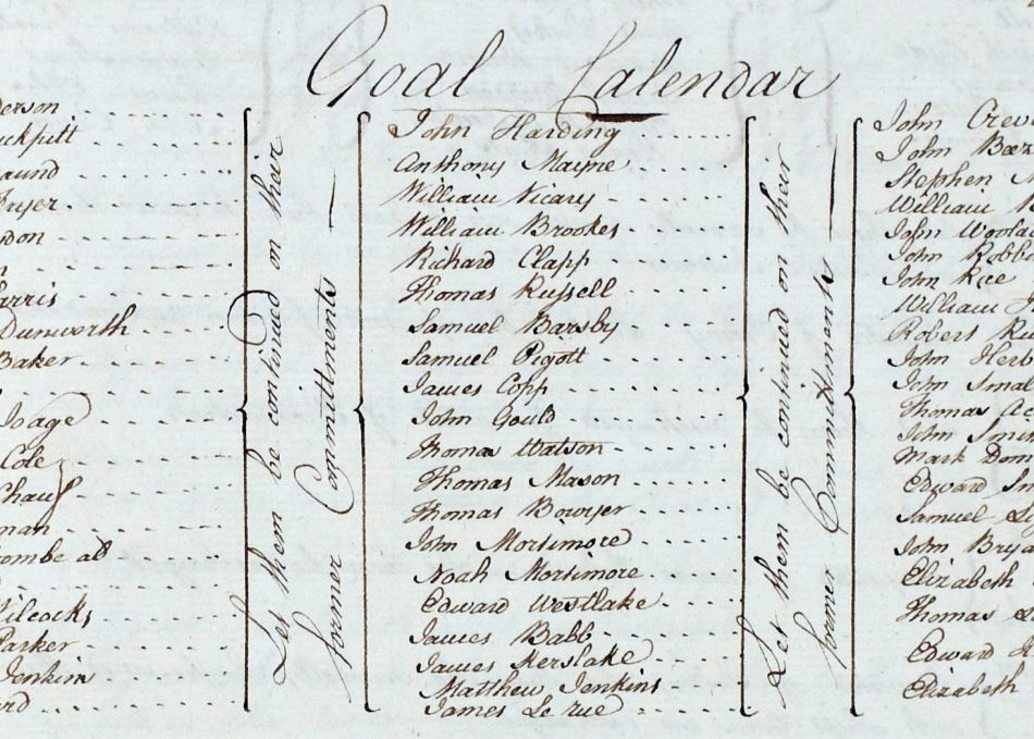 Mary Bryant on a list of prisoners at Devon County Gaol