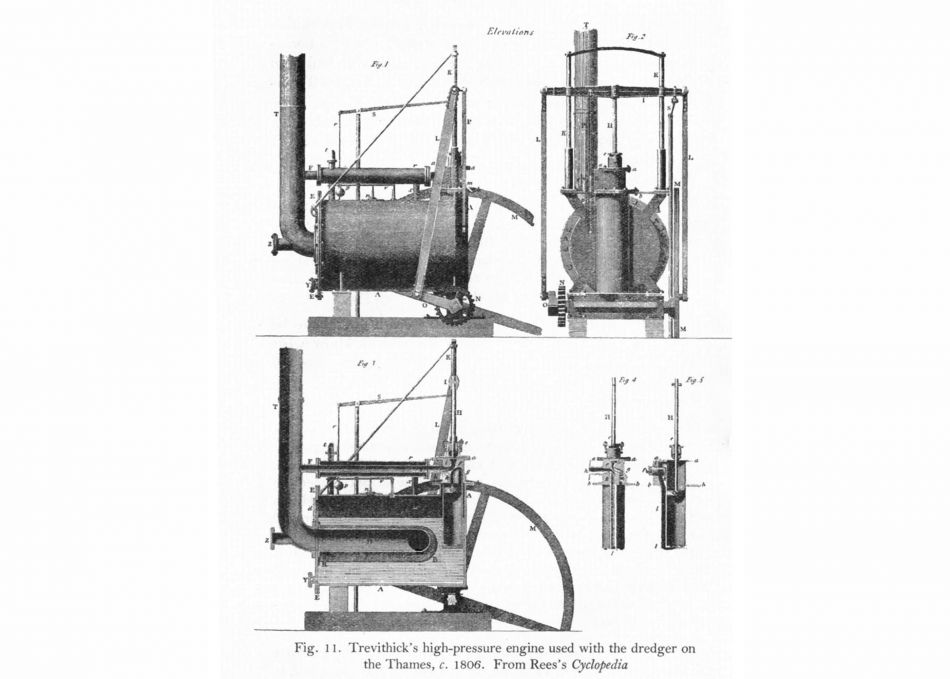 Diagram of an engine used with Richard Trevithick's dredger