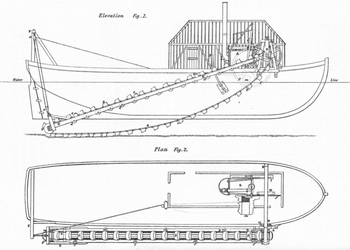 Plan of a dredger by Trevithick