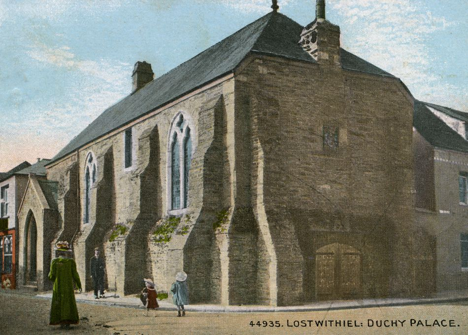 Historic postcard of the Duchy Palace in Lostwithiel