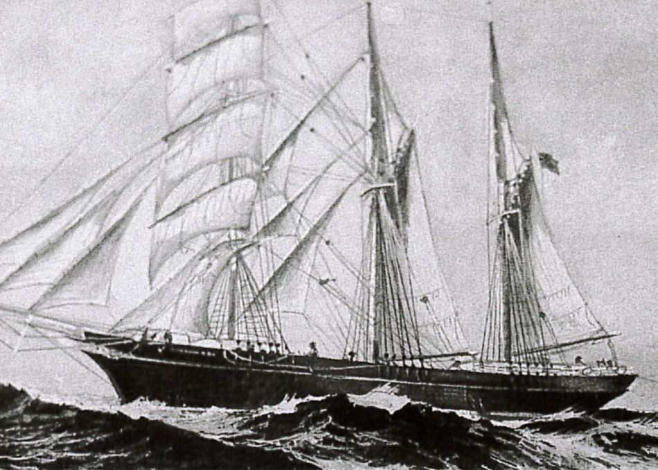 Illustration of the Empress of China, an emigrant ship built in Padstow, Cornwall