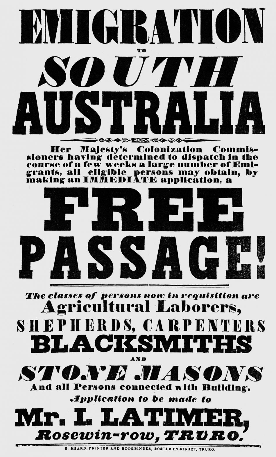 Poster to promote emigration to South Australia