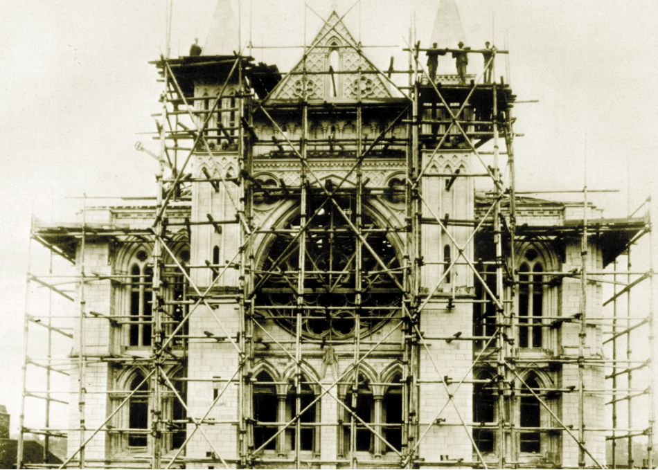 Truro Cathedral under construction in the 1880s
