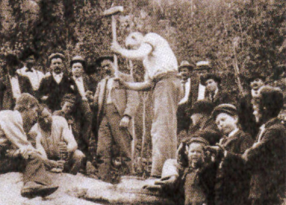 Photograph of Cornish miners in America practising for the fourth of July drilling competitions