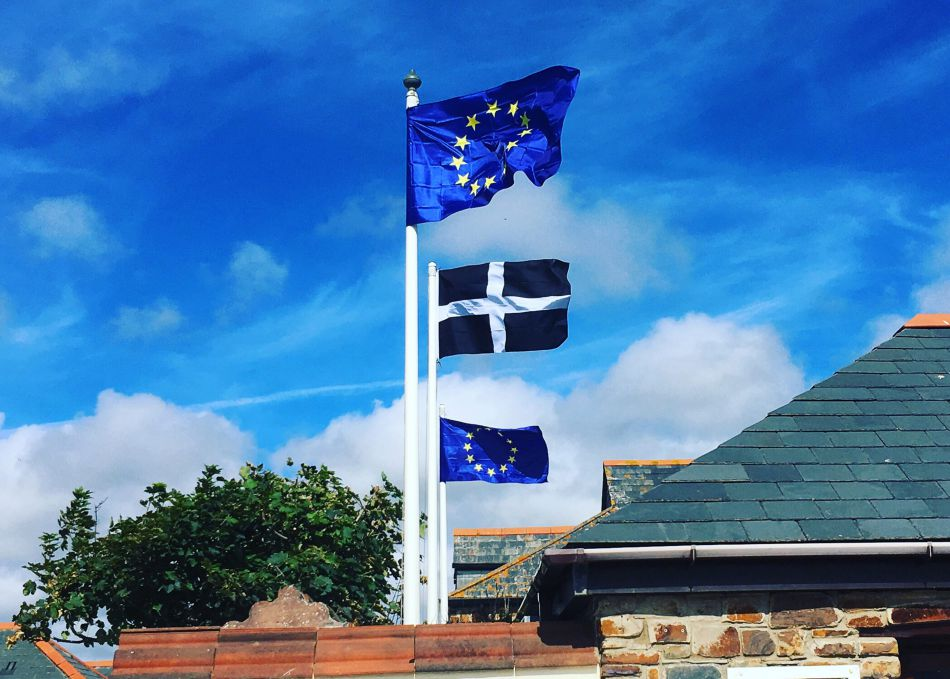 European Union flags flying at Bude Canal