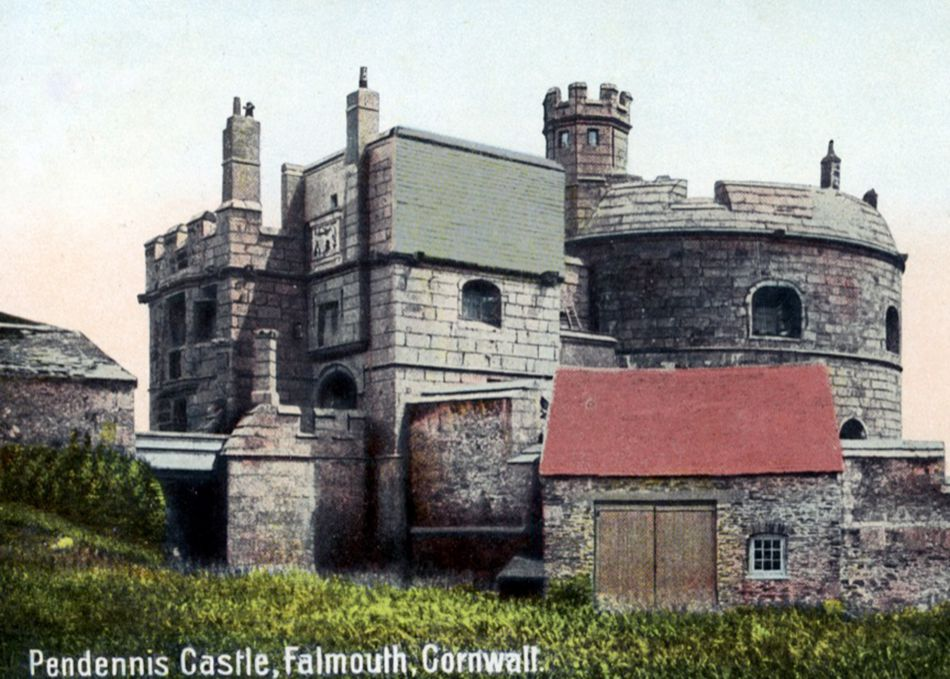 Postcard showing Pendennis Castle in 1909