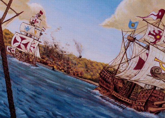 Painting of Spanish ships sailing West Cornwall