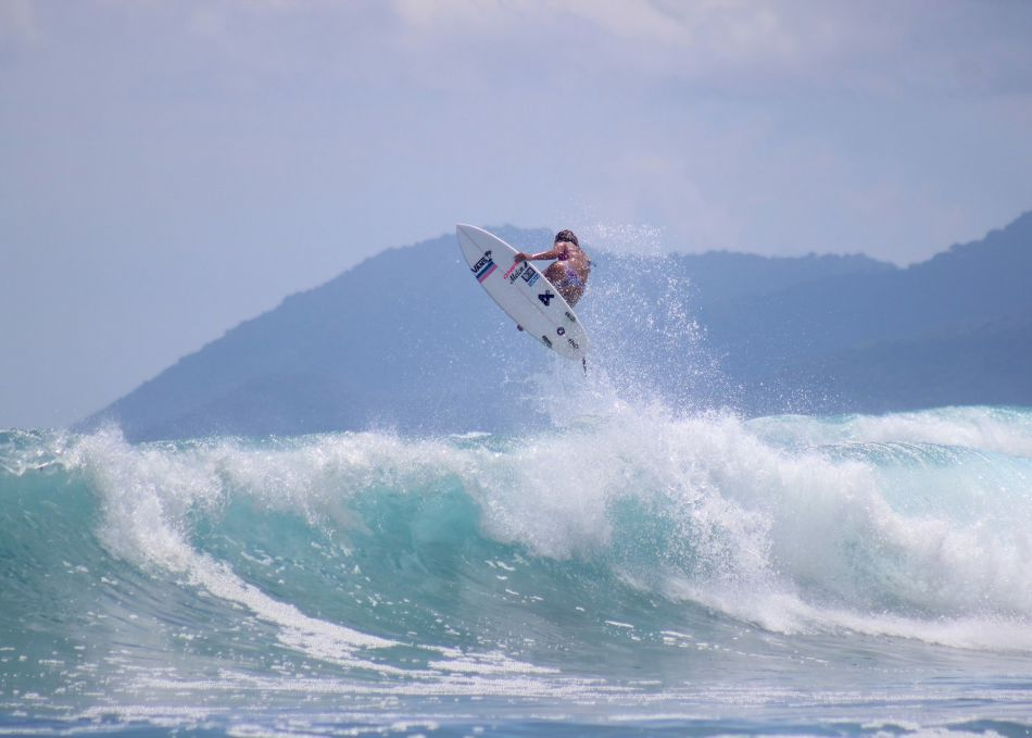 Tassy Swallow surfing in Indonesia