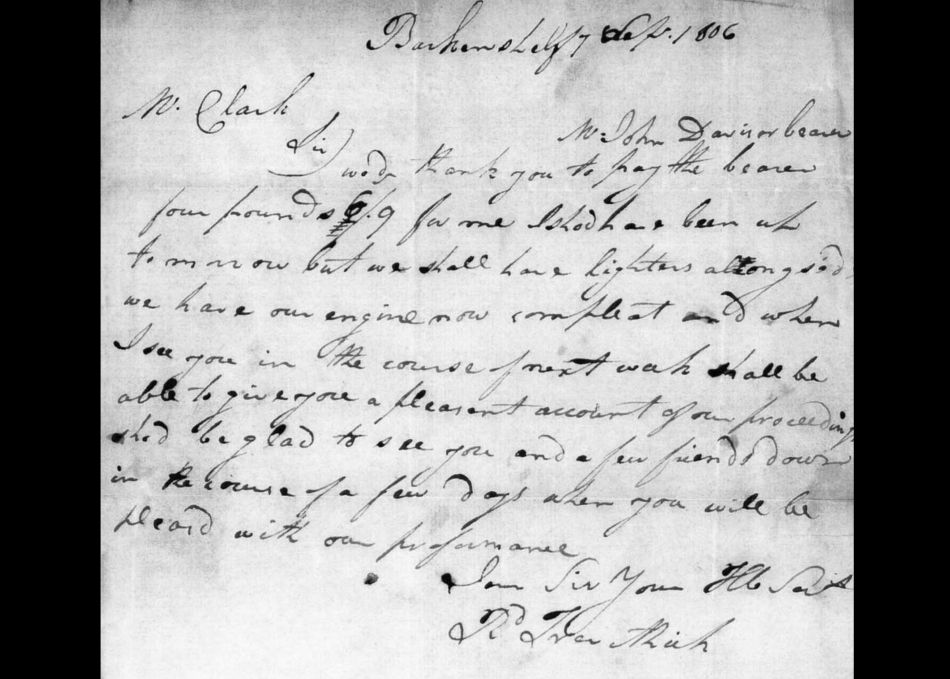Letter from Richard Trevithick