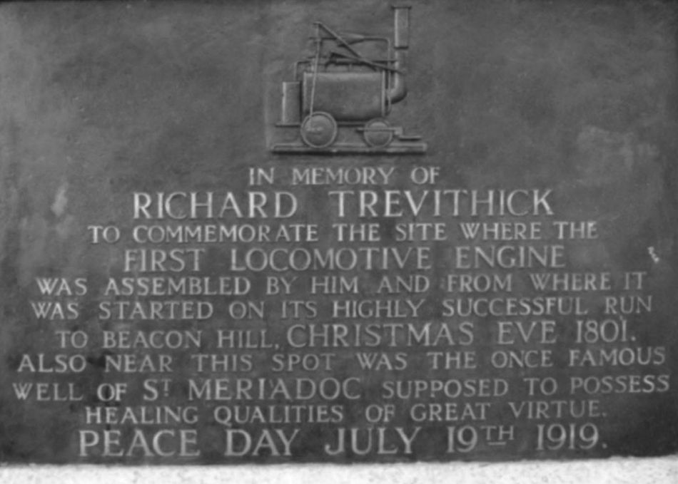 Plaque dedicated to Richard Trevithick on Tehidy Road in Camborne