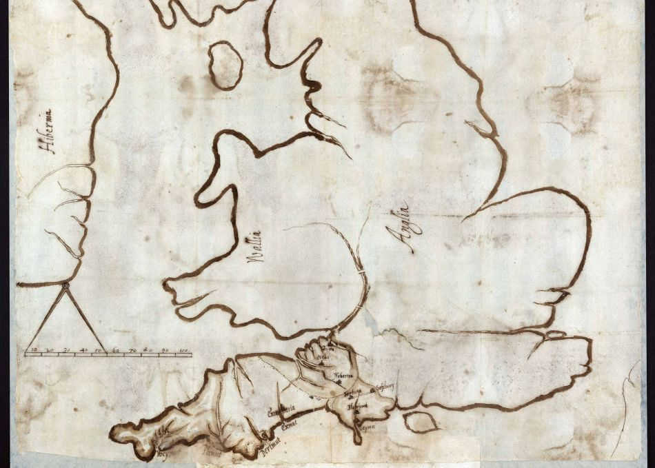 Map of Devon and Cornwall sent to encourage Spanish invasion