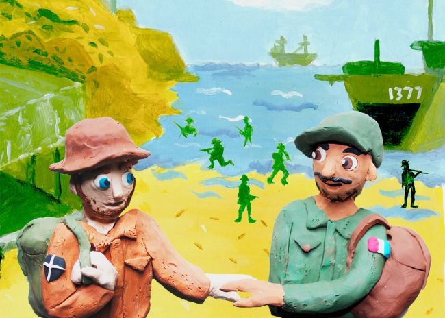 Plasticine Illustration of World War 2 D-Day Landings